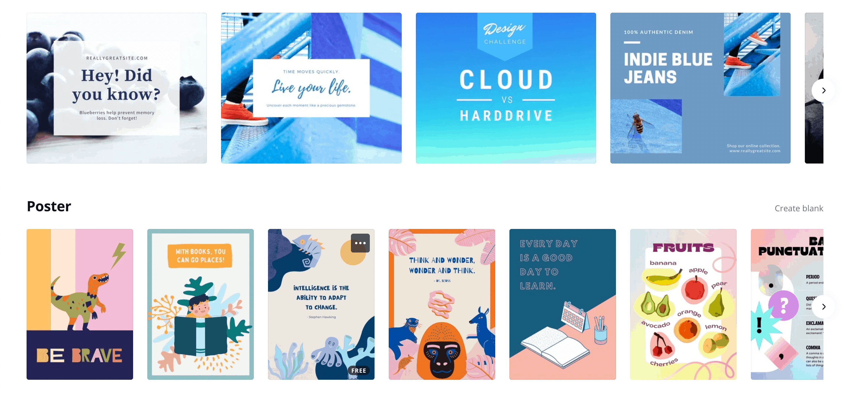 The Canva website.