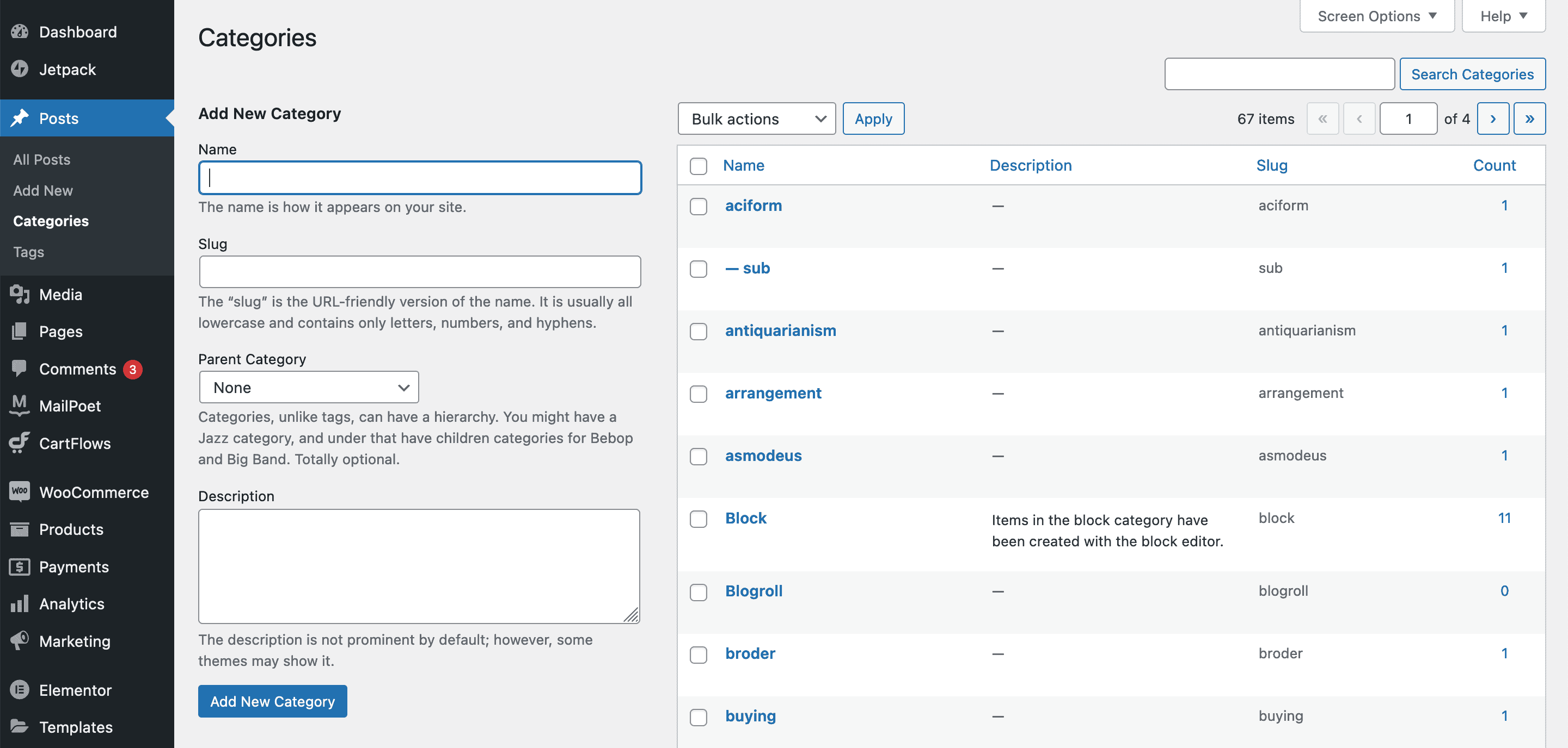 The Categories page in WordPress.
