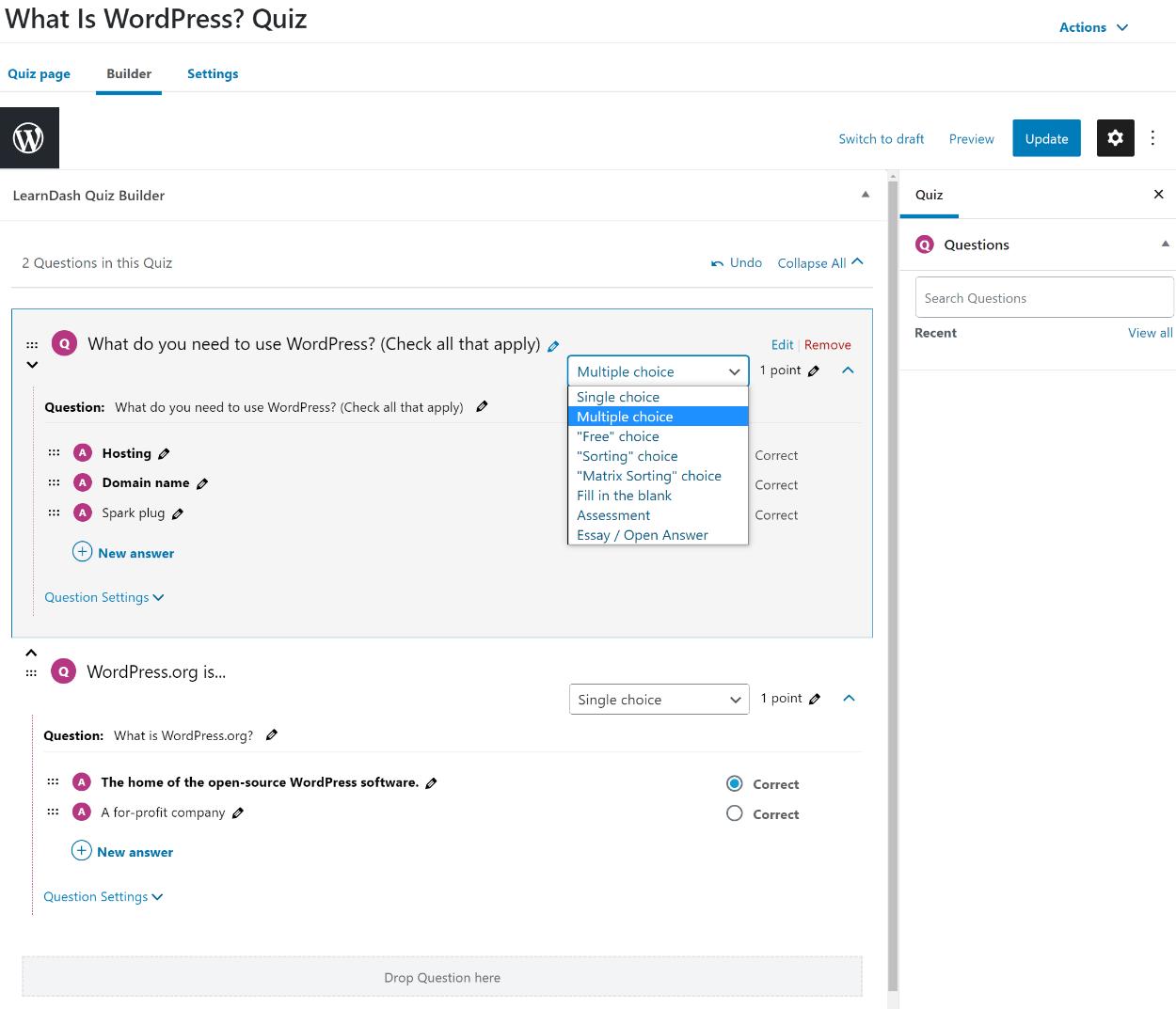 LearnDash quiz builder review