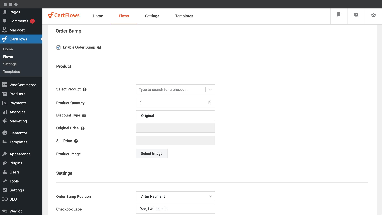 The Order Bump screen in CartFlows.