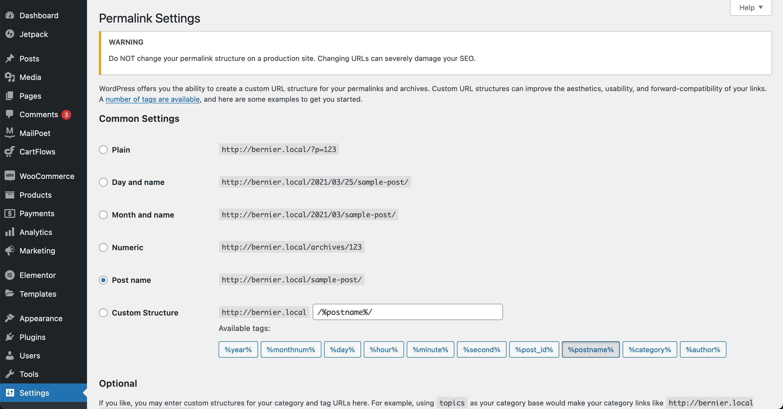 The Permalink settings screen.