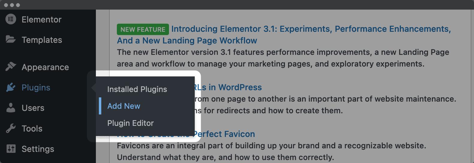 The Add New link in WordPress.