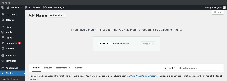 Uploading a plugin in WordPress.