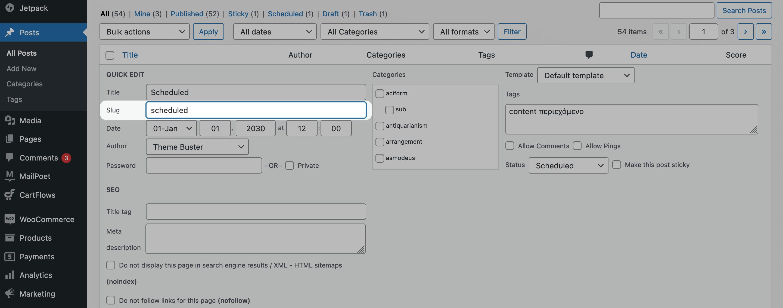 Editing a slug in the All Posts screen.
