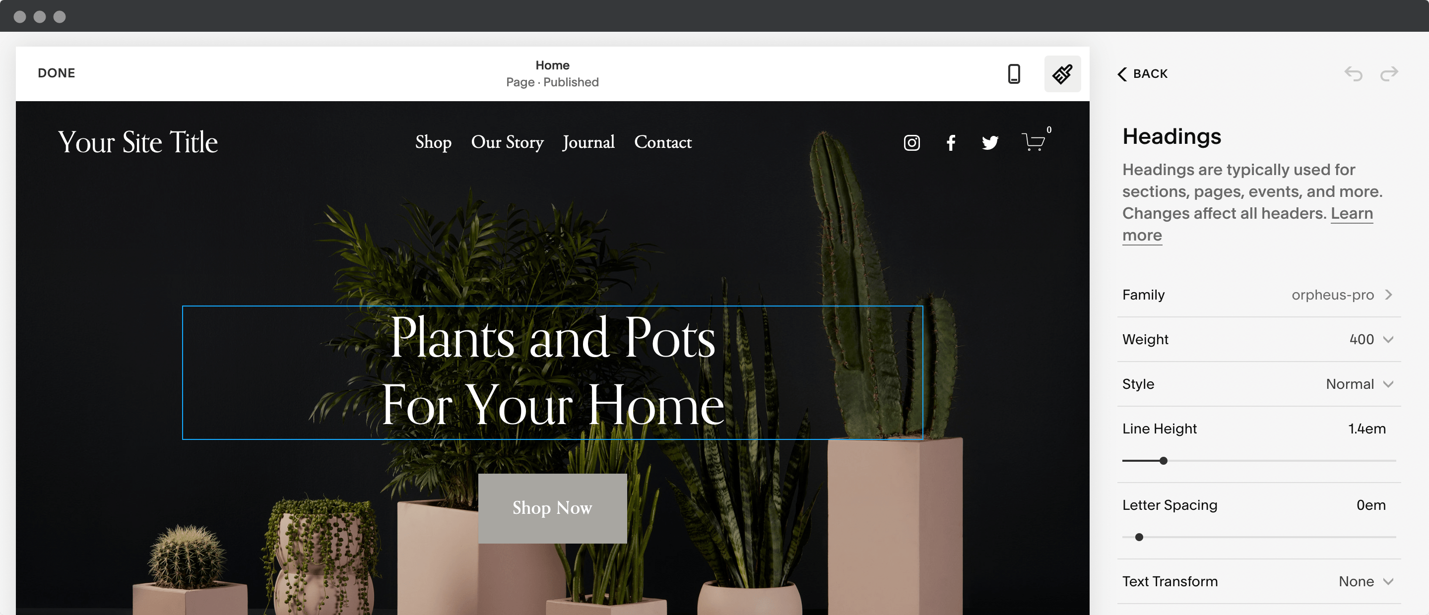 Selecting fonts in Squarespace.