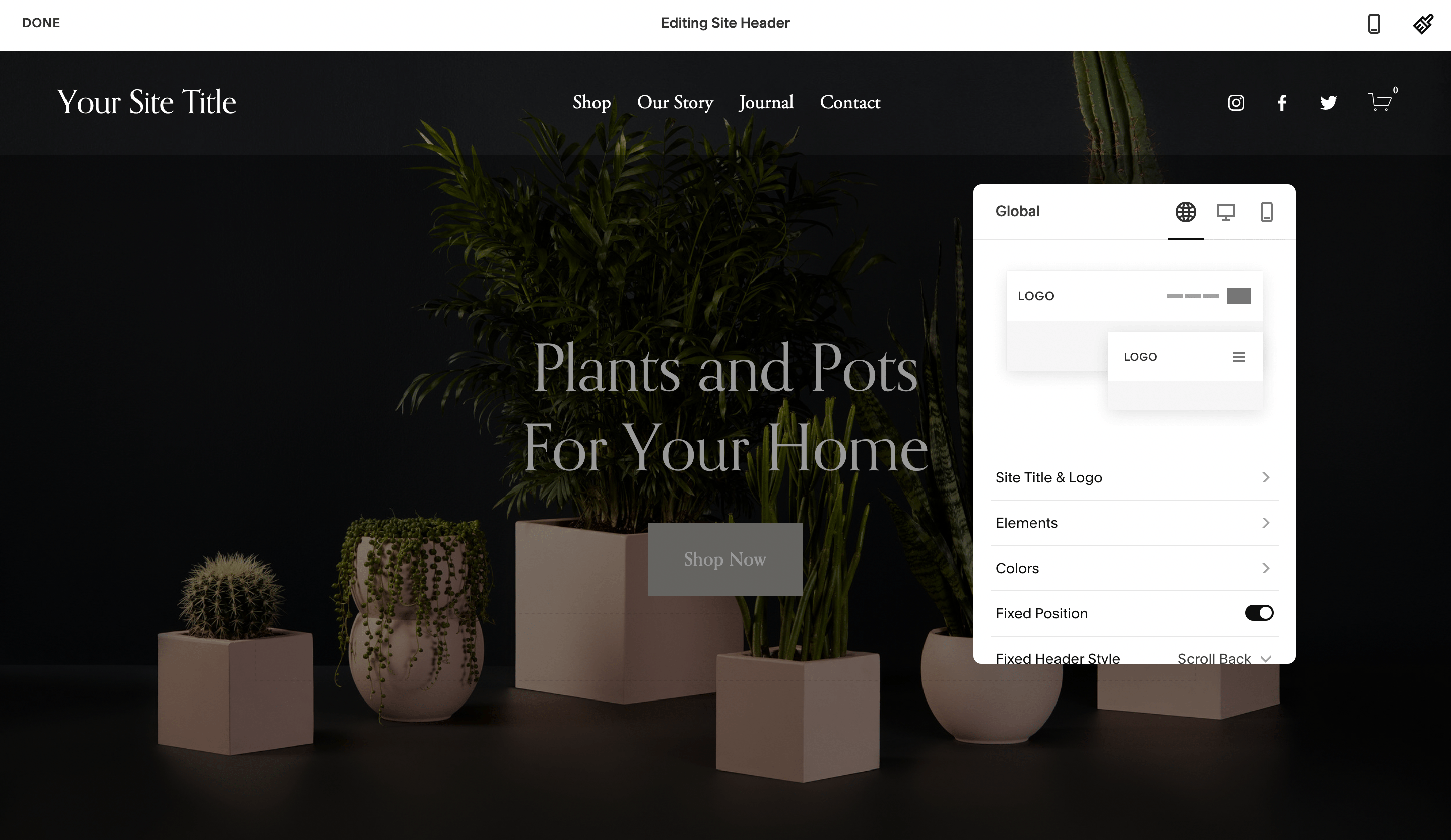 Editing a header in Squarespace.