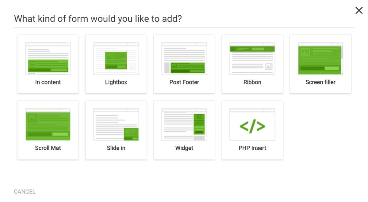 Opt-in form types