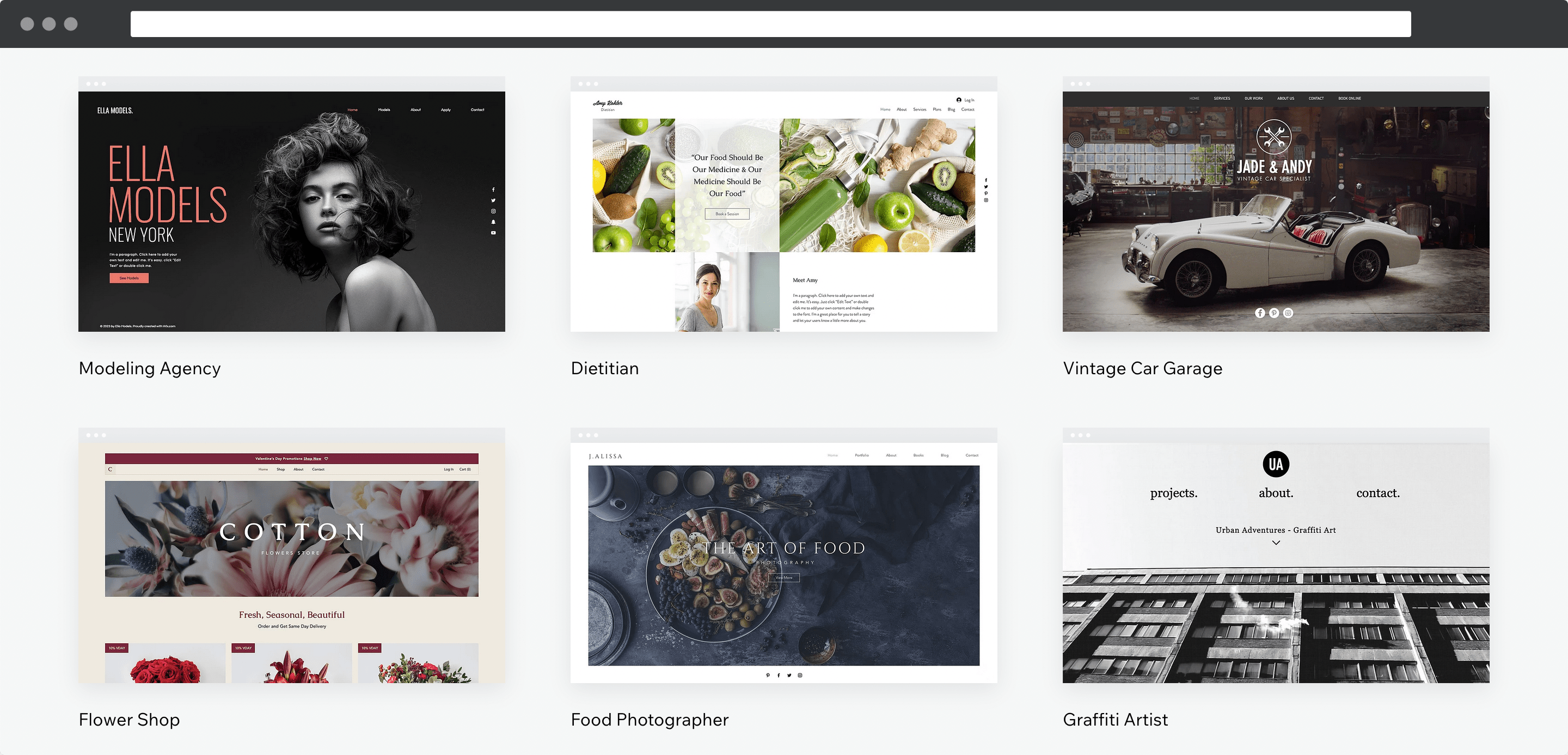 Wix' template library.