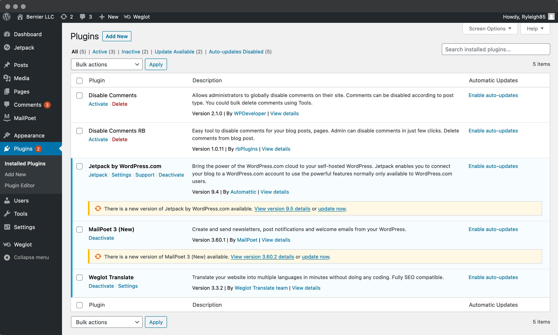 WordPress' Plugins page.