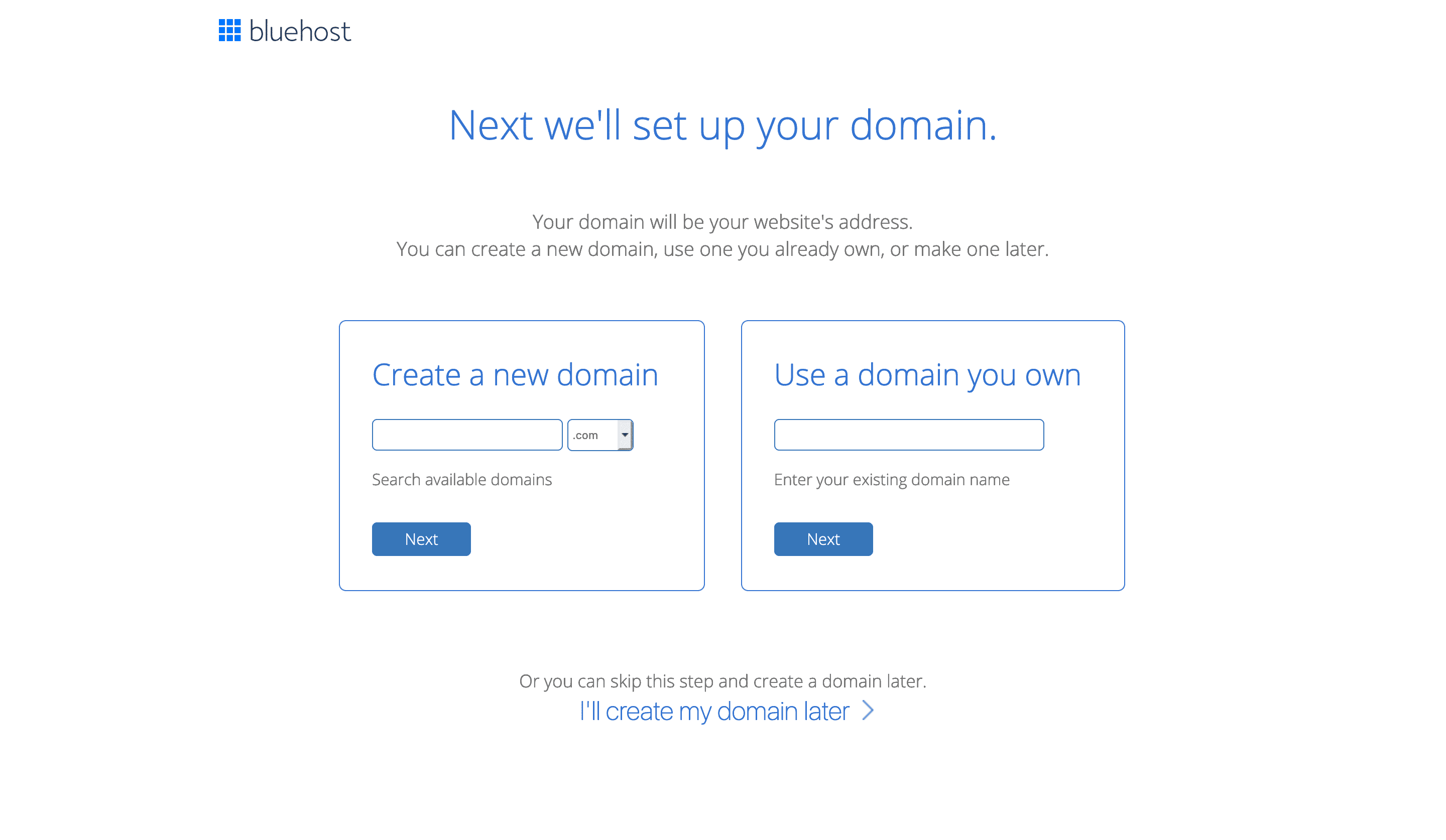 Setting up a domain on Bluehost.