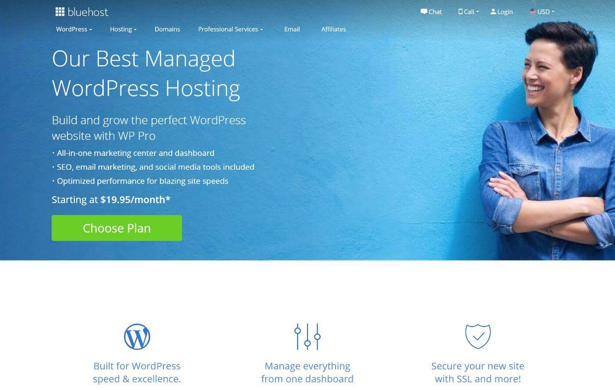 Bluehost WP Pro managed WordPress hosting