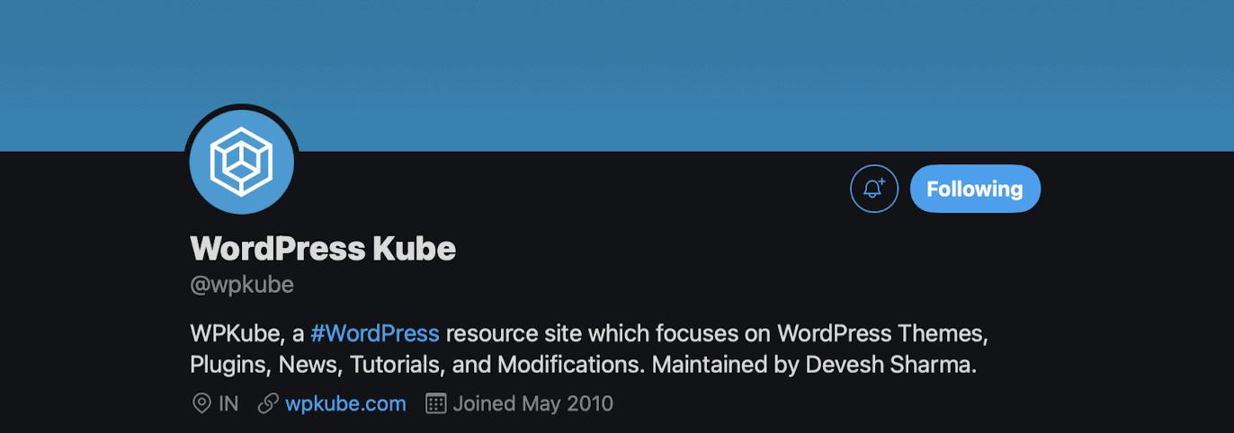 The WPKube Twitter header.