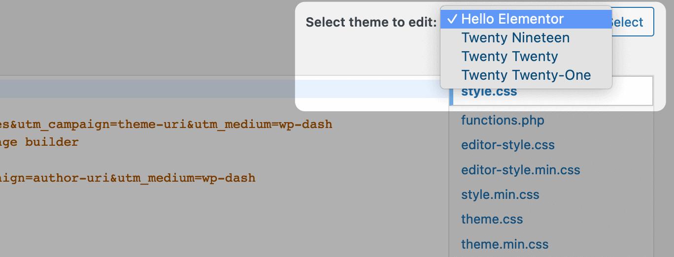 Choosing a theme in the Theme Editor.