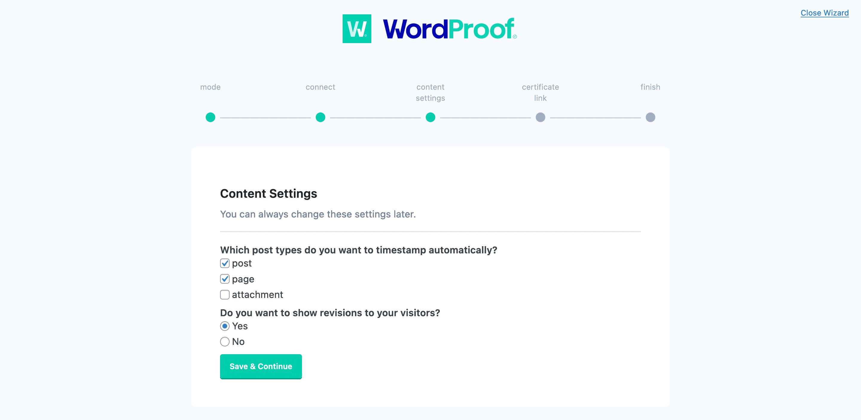 در حال اجرا از طریق تنظیمات محتوا در WordProof.