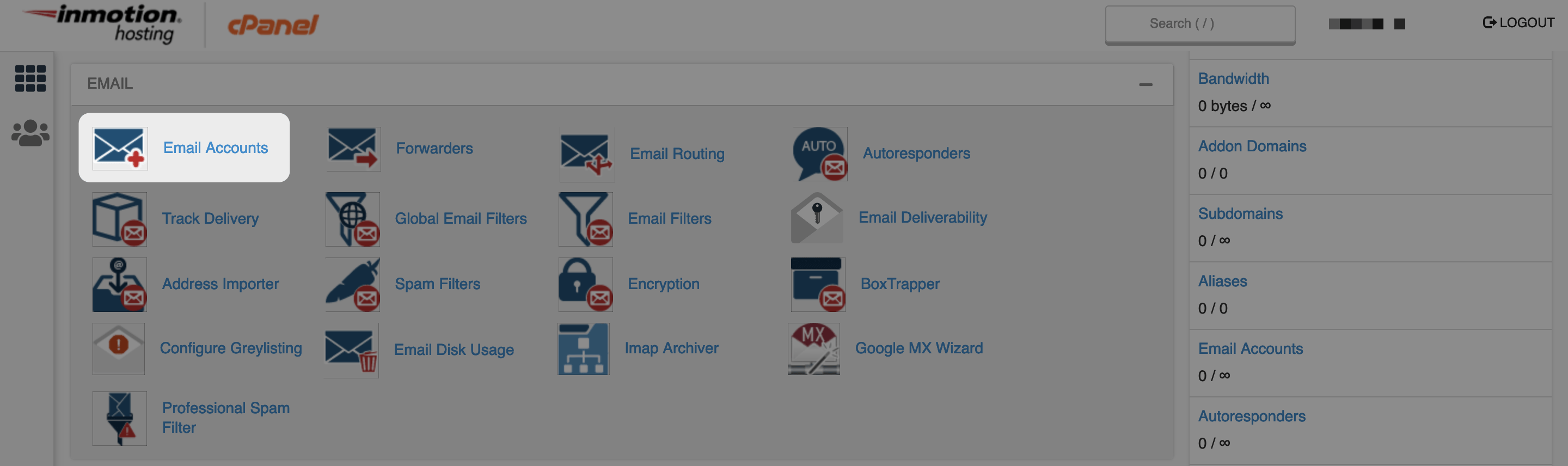The Email Accounts option in cPanel.