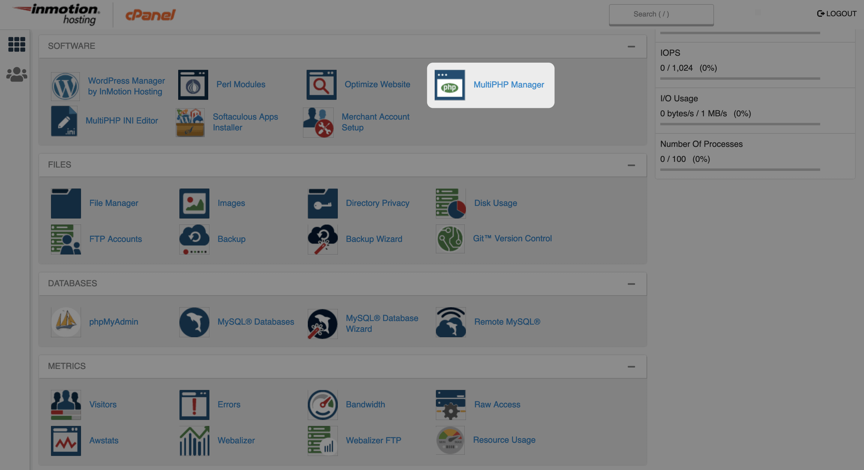 The MultiPHP Manager option on cPanel's main screen.
