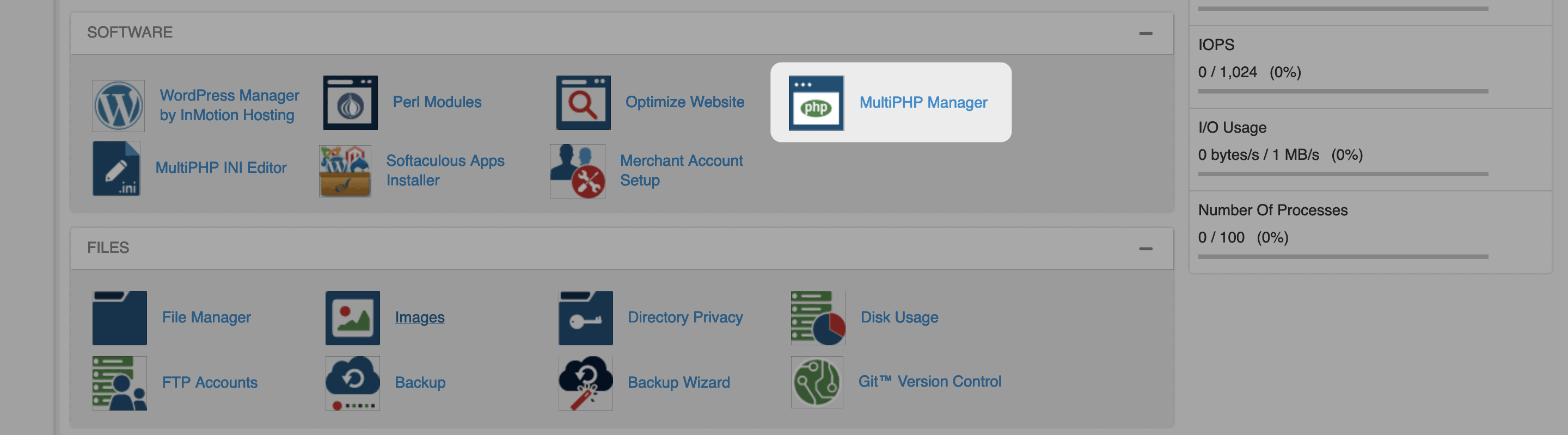 The MultiPHP Manager setting in cPanel.