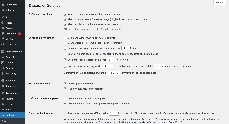 WordPress' Discussion Settings.