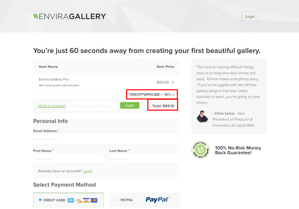 Envira gallery coupon code applied