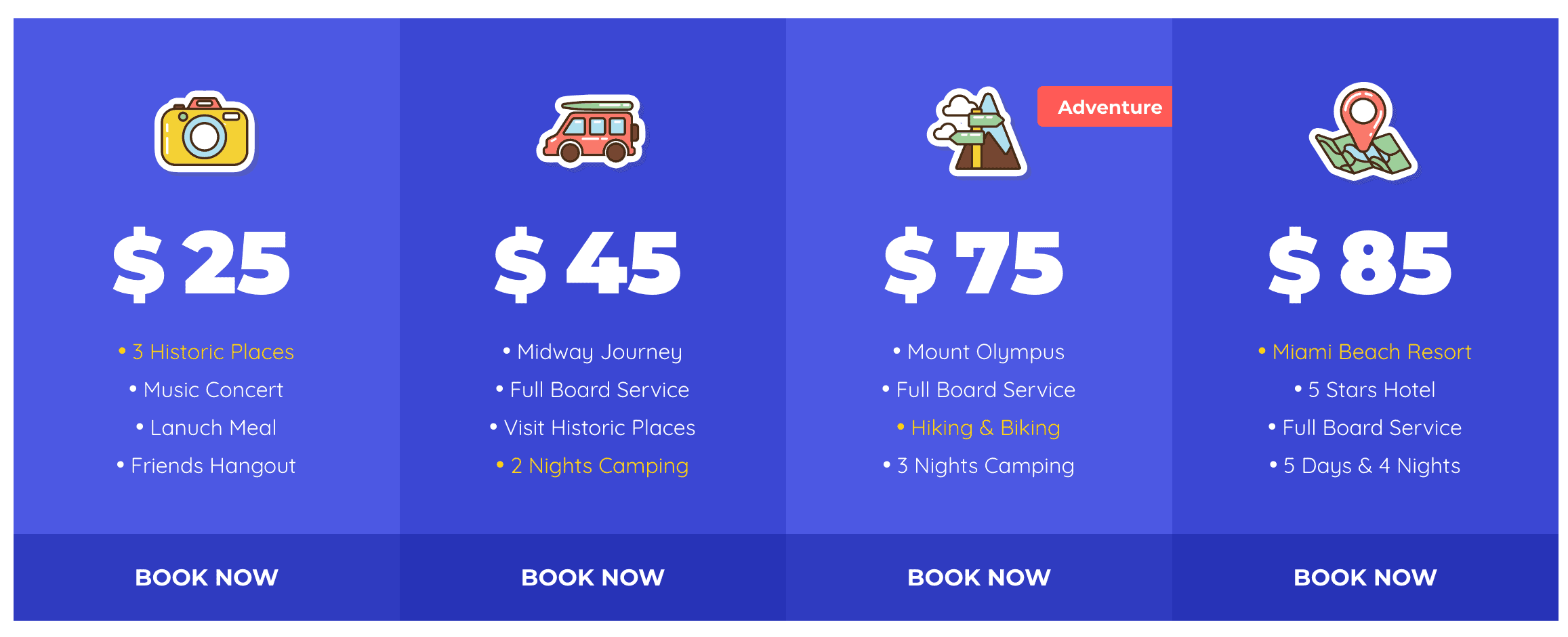 A pricing table using Lottie animations.