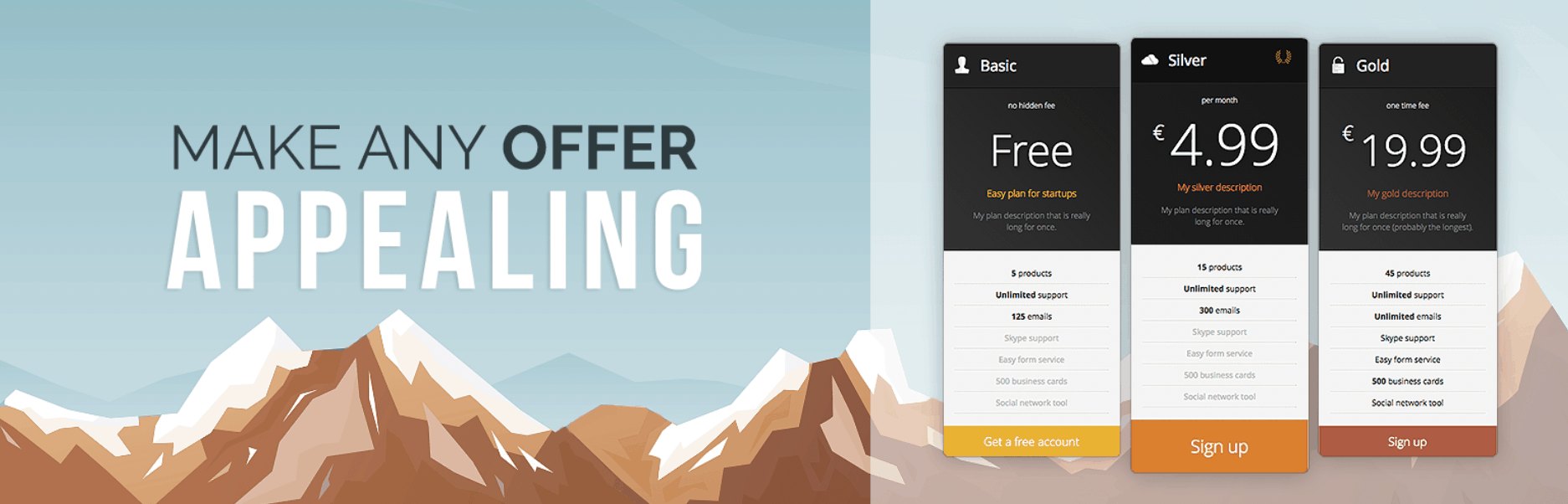 The Responsive Pricing Table plugin.