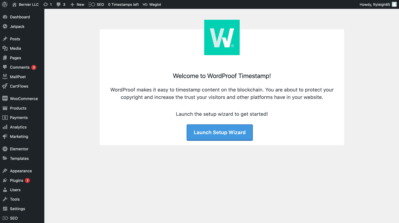 صفحه اصلی WordProof راه اندازی.