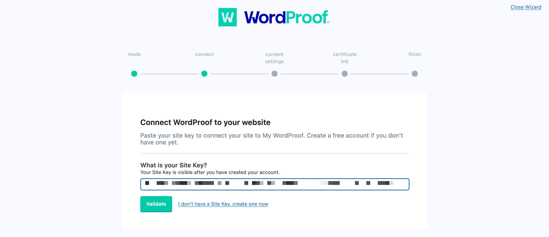 افزودن کلید سایت به WordProof.