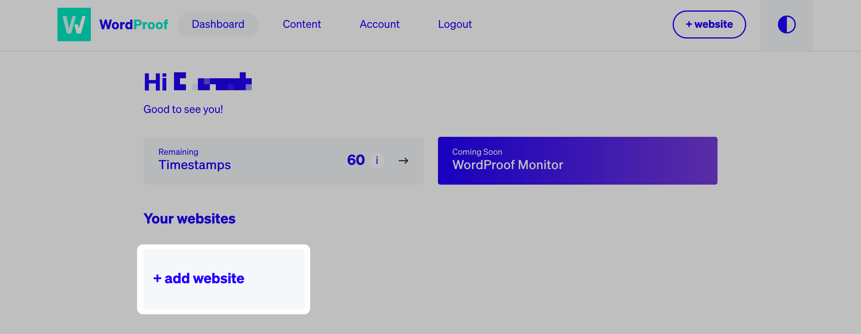 داشبورد WordProof.