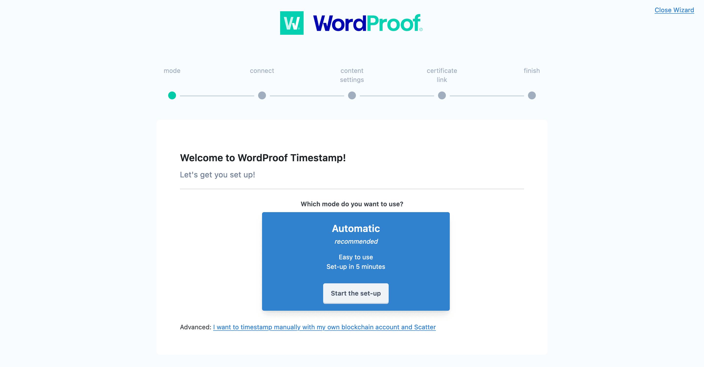 جادوگر راه اندازی WordProof.