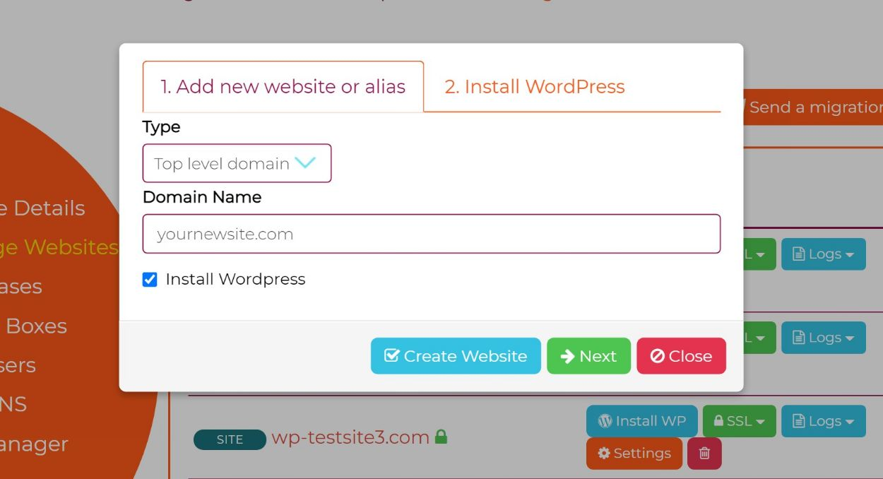 Add New website