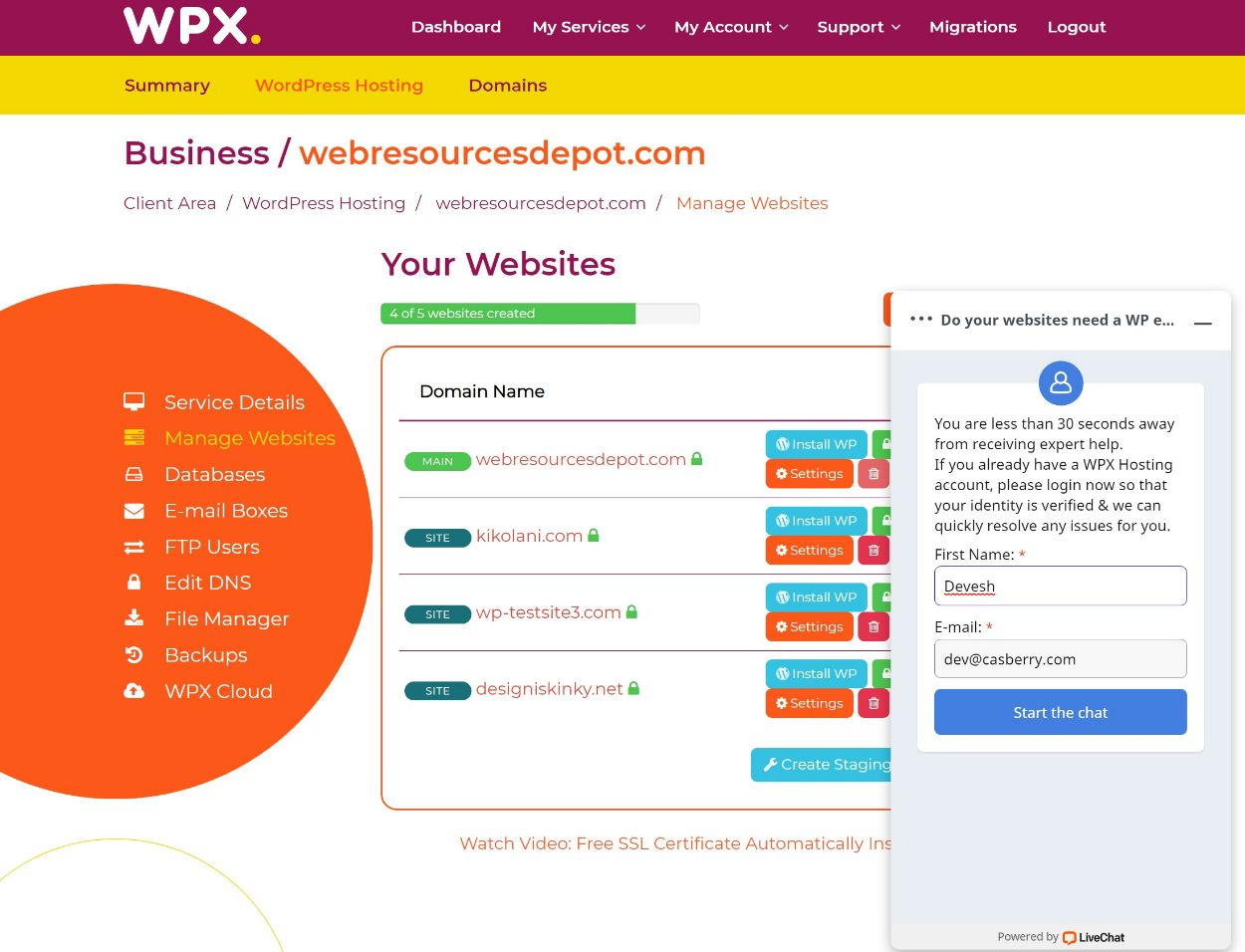 WPX hosting live chat support