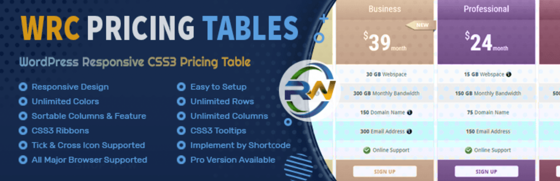 The WRC Pricing Tables plugin.