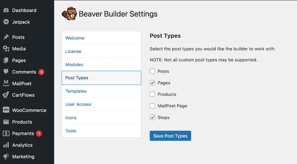 Beaver Builder's Post Types settings.
