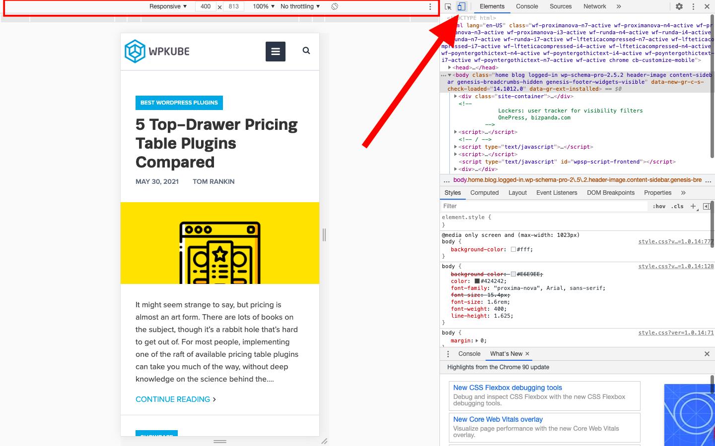 Chrome developer tools mobile preview
