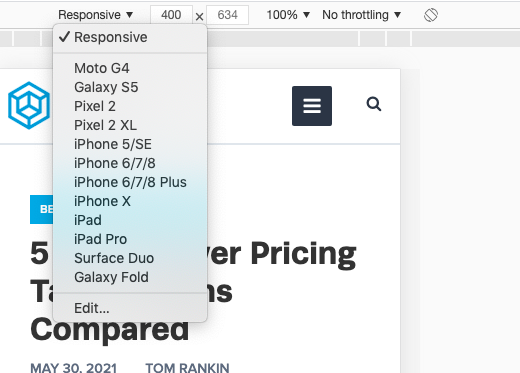 Changing the mobile device in Chrome