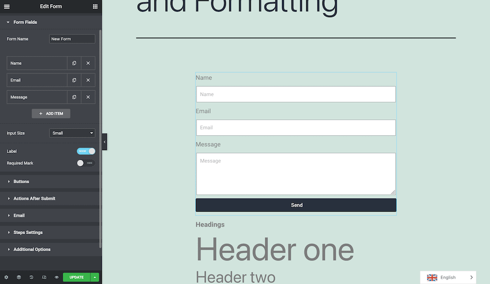Adding a form within Elementor.