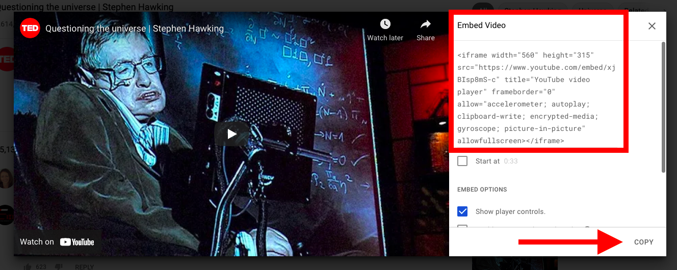 Copying Youtube embed ifram code