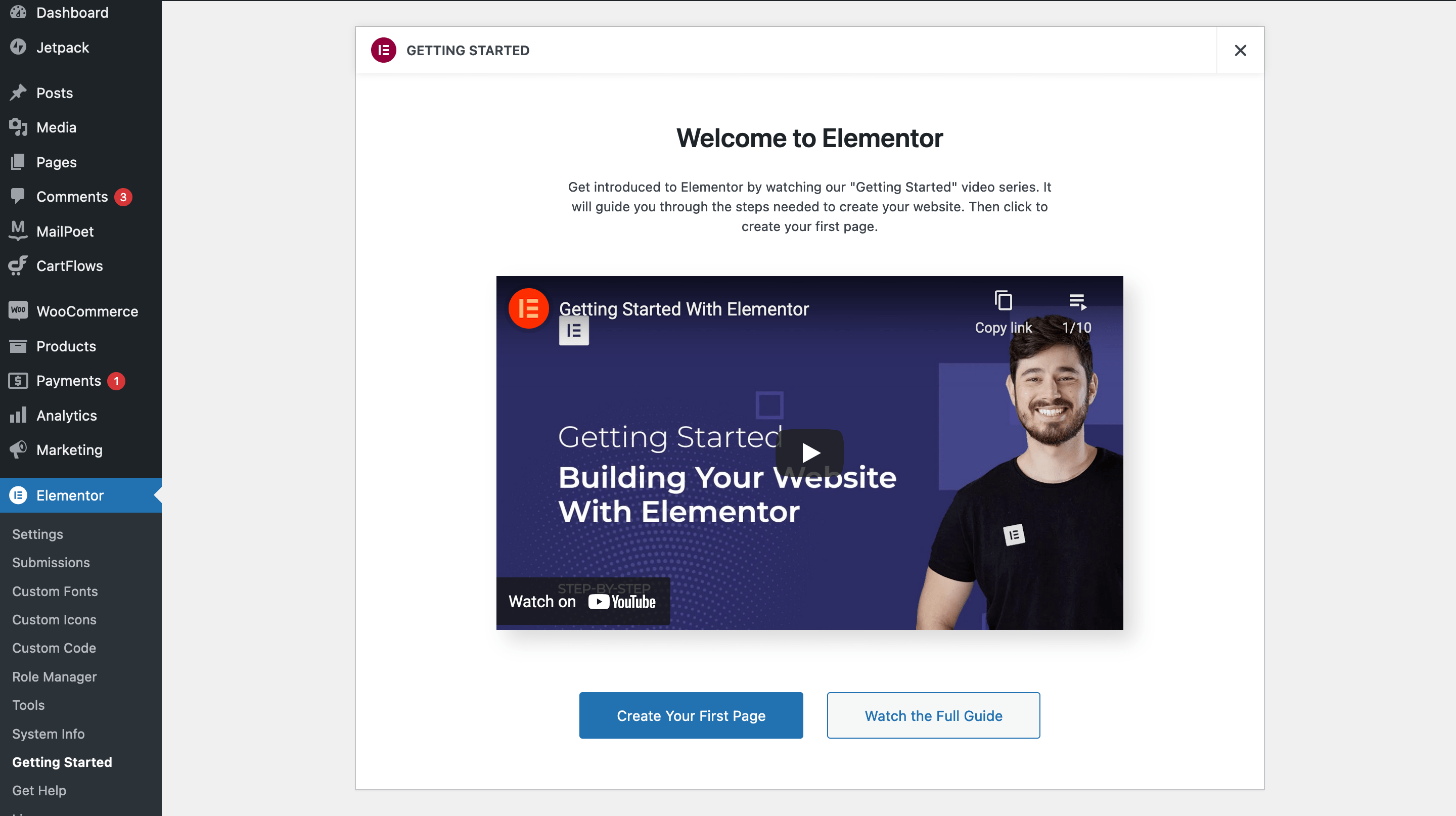 The Elementor Getting Started page.