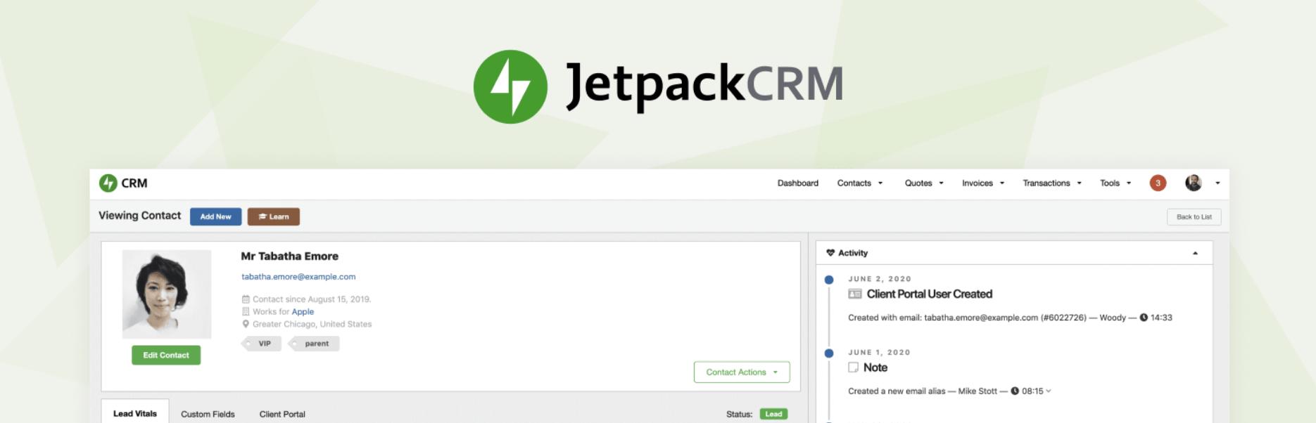 The JetpackCRM plugin.