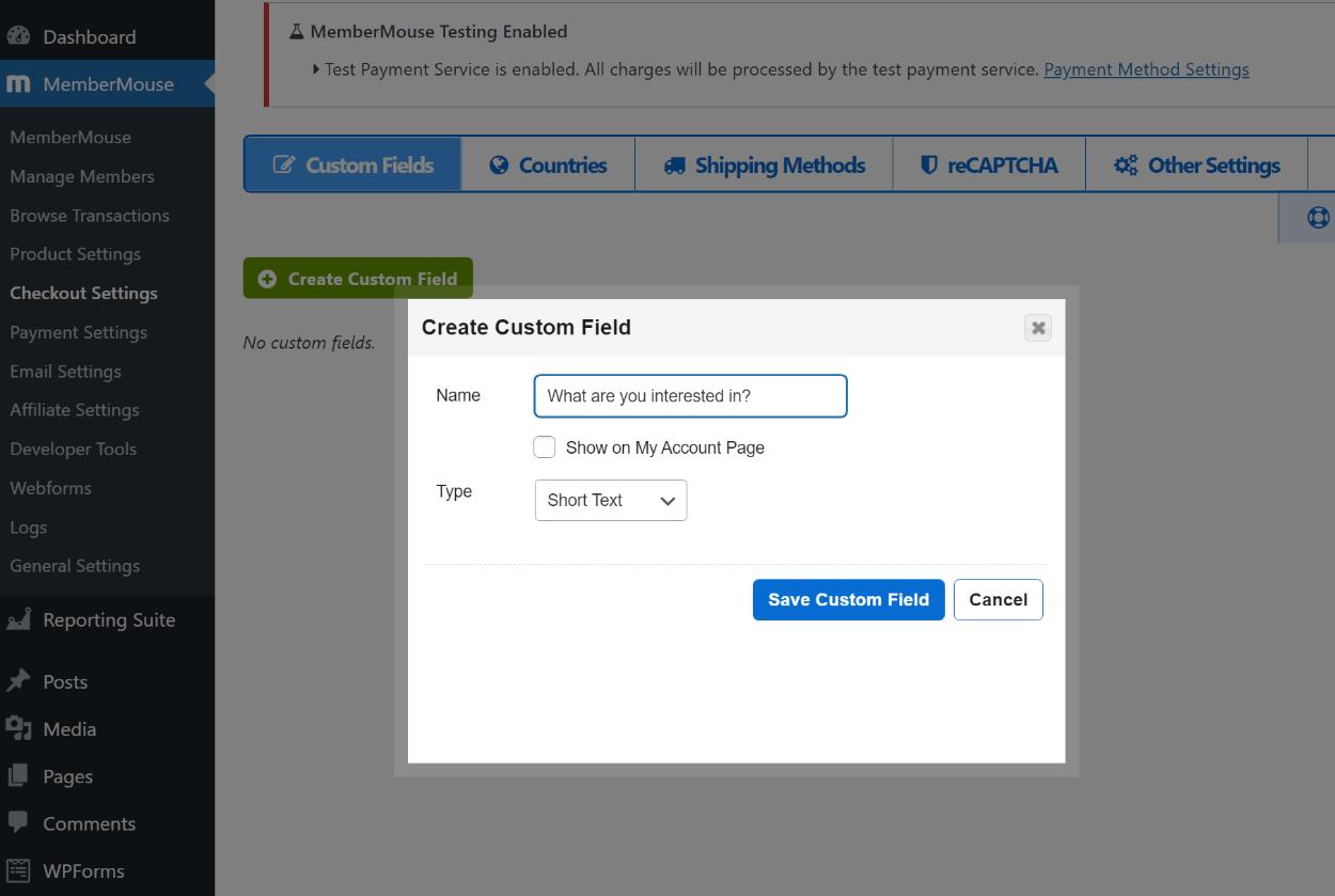 Checkout settings