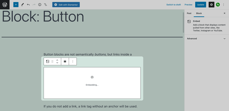 Embedding a Block in WordPress.