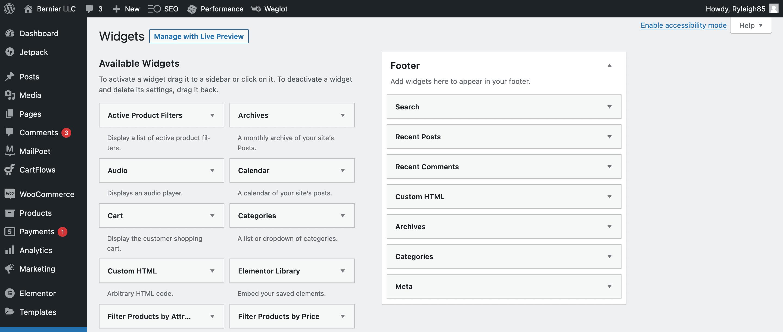 The WordPress Widgets page.