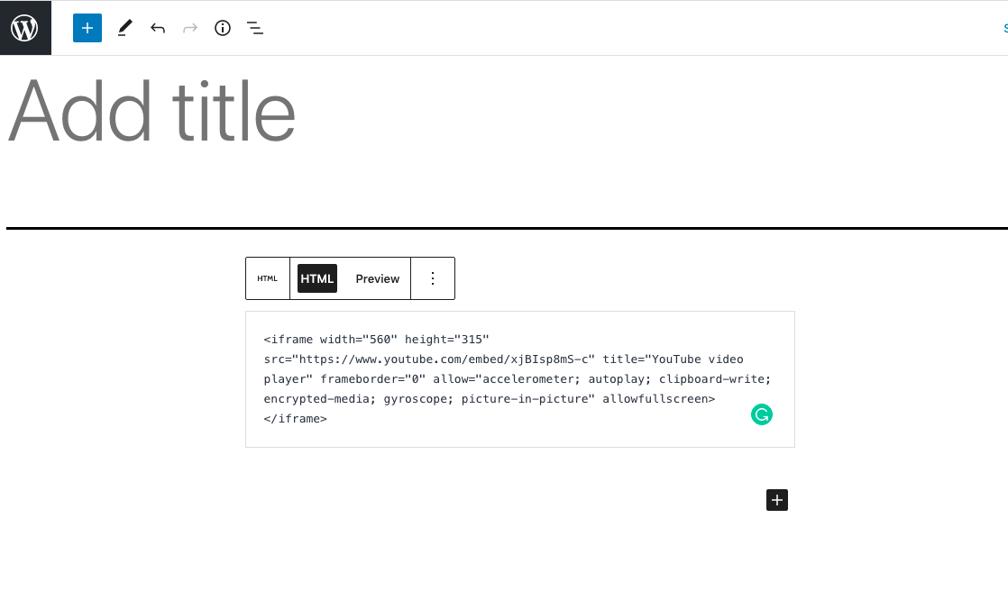 PAsting in YouTube embed code