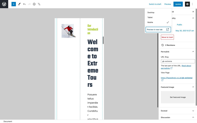 WordPress page mobile preview