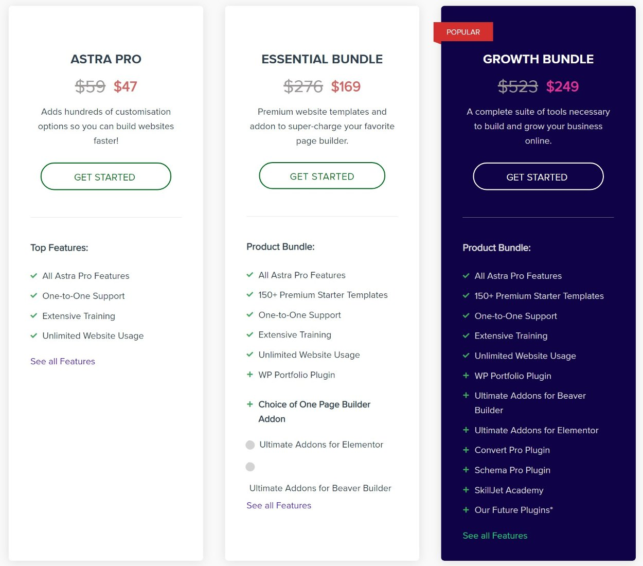 Astra theme pricing review of one-year license