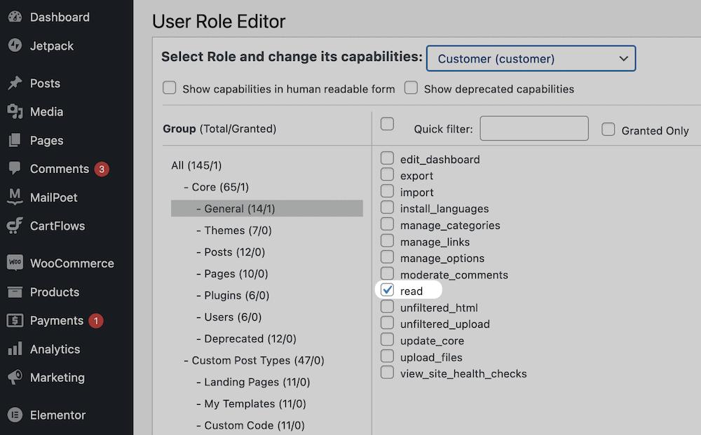The Customer capabilities list.