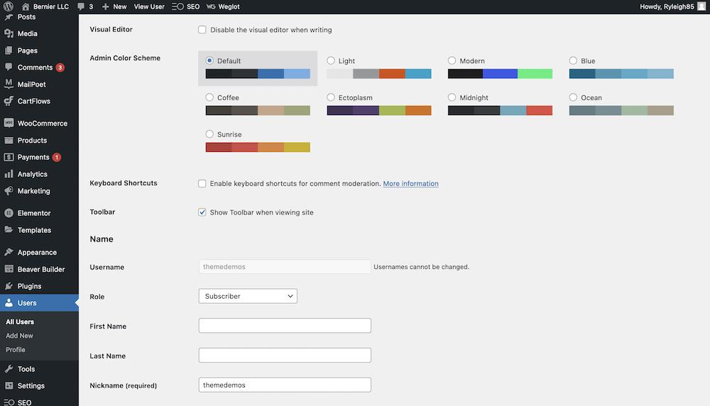 A User Profile page.