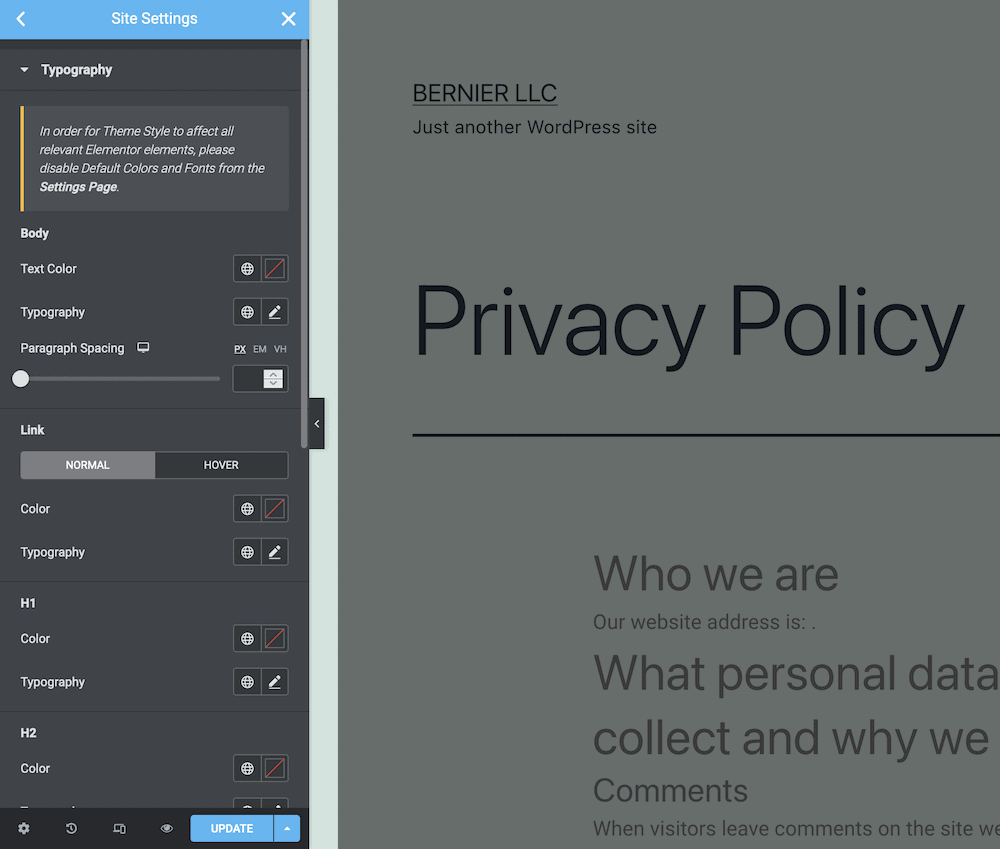 The global typography settings within Elementor.