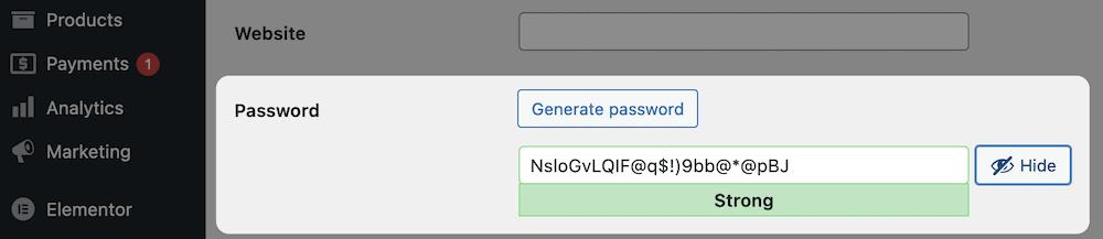The WordPress Password box.