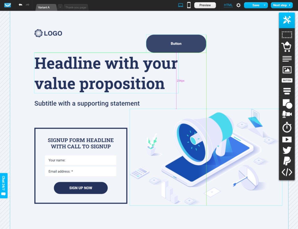 GetResponse website builder